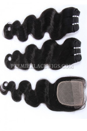 Brazilian Virgin Hair Weave 4ozs thick Hair Body Wave A Silk Base Closure with 2 Bundles Deal