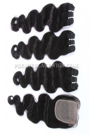 Brazilian Virgin Hair Weave 4ozs thick Hair Body Wave A Silk Base Closure with 3 Bundles Deal