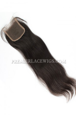 Brazilian Virgin Hair Lace Closure Natural Color Silky Straight 4x4inches Bleached Knots