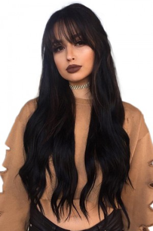 Black Long Straight Hair With Bangs Anatomic 360°Lace Wigs