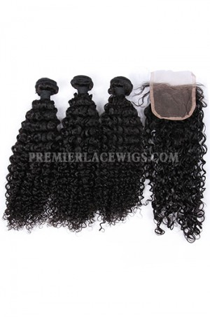 Indian Virgin Human Hair Water Wave A Lace Closure With 3 Bundles Deal