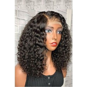 """Tracey-- Gorgeous Curly Hair Bob Cut 13""""x6"""" Lace Frontal Wig  [Pre-bleached knots, Pre-plucked hairline, Removable elastic band]"""