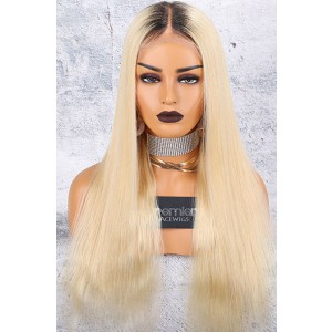 """Dark Roots Blonde Hair 6"""" Middle Part 360 Lace Wigs,Indian Remy Hair,Silky Straight,150% Thick Density,Pre-Plucked Hairline,Removable Elastic Bands"""