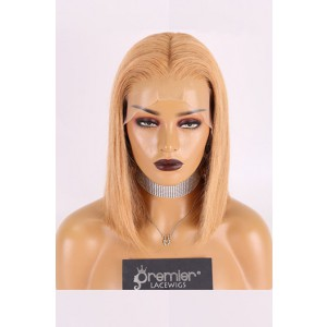 """Copper Blonde Hair Bob Cut,13""""x4.5"""" Lace Frontal Wig,12 inches Silky Straight 150% Thick Density,Pre-plucked hairline,Removable elastic band"""