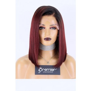"Ashley--Burgundy Color #99J With Dark Roots Relaxed Yaki Texture Bob Human Hair 13""x6"" Lace Frontal Wig,150% Thick Density [Pre-bleached knots,Pre-plucked hairline,Removable elastic band]"