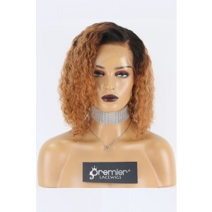 """Renee--Copper Hair Curly Bob Cut 13""""x6"""" Lace Frontal Wig,150% Thick Density [Pre-bleached knots,Pre-plucked hairline,Removable elastic band]"""