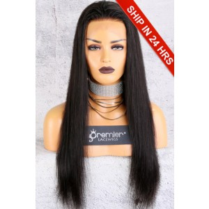 Affordable 13x4.5 Lace Frontal Wig,Silky Straight Indian Remy Hair Natural Color,150% Thick Density,Average Cap Size [Advanced Pre-Bleached Knots,Pre-Plucked Hairline,Pre-Added Removable Elastic Band]