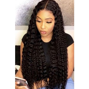 "Deep Middle Part Curly Hair 13""x6"" Lace Frontal Wig.[Advanced Pre-Bleached Knots,Pre-Plucked Hairline,Pre-Added Removable Elastic Band]"