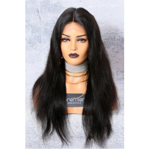 "Silky Straight 13""x6"" Deep Part Lace Frontal Wig [Advanced Pre-Bleached Knots,Pre-Plucked Hairline,Pre-Added Removable Elastic Band]"