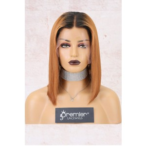 "Luxury Copper Hair Bob 4.5"" Lace Front Wig,Virgin Human Hair Silky Straight [Pre-Bleached Knots,Pre-Plucked Hairline,Removable Elastic Band]"