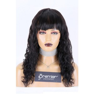 """Natural Wave Full Bangs Wig With Real Scalp 3.5""""×3"""" Silk Top,Indian Remy Human Hair 150% Thick Density"""