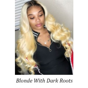 """Blonde Hair Body Wave With Dark Roots 13""""x4"""" Lace Front Wig, Indian Remy Human Hair, Pre-plucked hairline"""