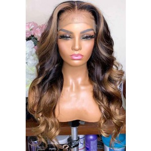 """Blonde Highlights Ombre Wavy Hair 13""""x6"""" Lace Frontal Wig [Pre-bleached knots,Pre-plucked hairline,Removable elastic band]"""