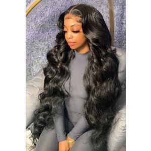 "26-32 inches Extra-Long 13""x4"" Lace Front Wig,Indian Remy Human Hair Body Wave, Natural Color 180% Thick Density [Pre-bleached knots, Pre-plucked hairline,Removable elastic band]"