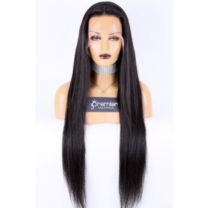 "26-32 inches Extra-Long 13""x4"" Lace Front Wig,Indian Remy Human Hair Silky Straight Natural Color 180% Thick Density [Pre-bleached knots, Pre-plucked hairline,Removable elastic band]"