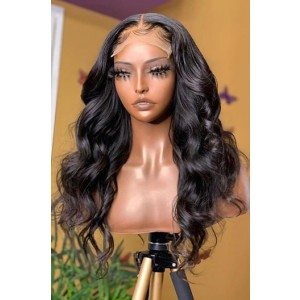 "Super Thin Transparent HD Lace, 5""x5"" HD Lace Closure Wig, Body Wave Indian Remy Human Hair  [Pre-bleached knots only for natural black color, Pre-plucked hairline, Removable elastic band]"