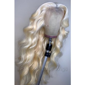 "#613 Blonde Hair 13""x4"" Lace Frontal Wigs Body Wave, Indian Remy Human Hair, Pre-plucked hairline,Removable elastic band"