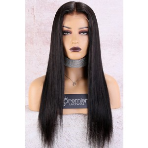 "Yaki Textured Straight 6"" Deep Part Lace Frontal Wig [Pre-Bleached Knots,Pre-Plucked Hairline,Removable Elastic Band]"