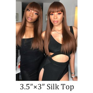 """Honey Brown Full Bangs Wig With Real Scalp 3.5""""×3"""" Silk Top,Indian Remy Human Hair Bone Straight"""