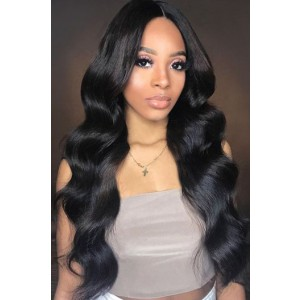 """Eva--Invisible Knots,Super Thin Transparent HD Lace,13""""x 6"""" Lace Frontal Wig,Indian Remy Hair, Body Wave, Pre-Plucked Hairline, Removable Elastic Band"""