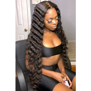 """Gina--Invisible Knots,Super Thin Transparent HD Lace,13""""x 6"""" Lace Frontal Wig,Indian Remy Hair, Crimped Deep Wave, Pre-Plucked Hairline, Removable Elastic Band"""