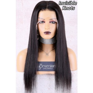 """Naomi--Invisible Knots,Super Thin Transparent HD Lace,13""""x 6"""" Lace Frontal Wig,Indian Remy Hair,Silky Straight, Pre-Plucked Hairline, Removable Elastic Band"""