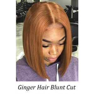Bella-- Ginger Hair Blunt Cut Bob Silky Straight Lace Front Wig[Pre-Bleached Knots,Pre-Plucked Hairline,Removable Elastic Band]