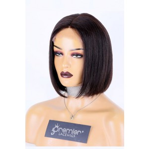 "Real Scalp Silk Base Closure Wig, Blunt Cut Bob Silky Straight, Natural Color 150% Thick Density, Average Size 22""-22.5"""