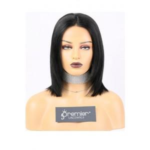 Kiara-- 13x3 Lace Frontal Wig Bob Yaki Straight,Indian Remy Hair 1#,150% Density,Average Size,Removable Elastic Band