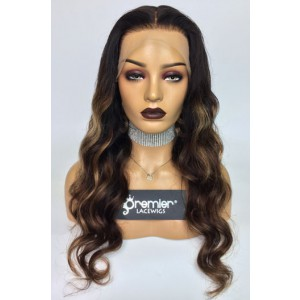"""Evelyn--Gorgeous Wavy Hair Ombre Highlights Transparent Lace 13""""x4"""" Lace Frontal Wig [Pre-bleached knots, Pre-plucked hairline, Removable elastic band]"""