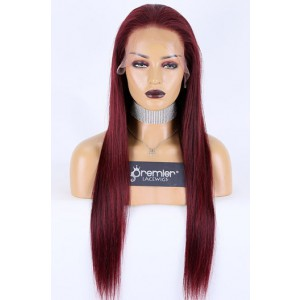 "Burgundy Hair Color #99J 13""x4"" Lace Front Wig Indian Remy Human Hair Silky Straight [Pre-bleached knots, Pre-plucked hairline, Removable elastic band]"