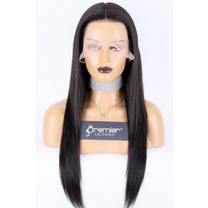 Transparent Lace 360 Lace Wigs,Silky Straight Indian Remy Human Hair Pre-plucked Hairline