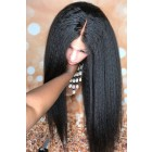 """Blowout Style Kinky Straight 13""""x6"""" Lace Frontal Wig,Indian Remy Human Hair [Pre-bleached knots only for natural black,Pre-plucked hairline,Removable elastic band]"""