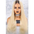"""Dark Roots Blonde Hair 6"""" Lace Frontal 360 Wig, Silky Straight 150% Thick Density, Pre-Plucked Hairline, Removable Elastic Band"""