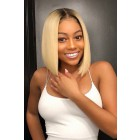 "Blonde Hair Dark Roots Bob Cut,4.5"" Lace Front Wig,12 inches Silky Straight 150% Density"