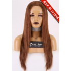 "Brown Color 6# Indian Remy Human Hair 13""x4"" Lace Frontal Wig, 20 inches Silky Straight Transparent Lace, Average Size, Pre-plucked hairline,Removable elastic band"