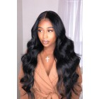 "Body Wave 13""x6"" Deep Part Lace Frontal Wig,Indian Remy Human Hair [Pre-bleached knots only for natural black,Pre-plucked hairline,Removable elastic band]"