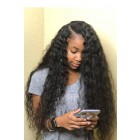"Deep Part Wavy Hair 13""x6"" Lace Frontal Wig.[Pre-bleached knots only for natural black,Pre-plucked hairline,Removable elastic band]"