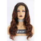 Jessica-- Chocolate Brown Ombre Wavy Hair 360 Lace Wig. Pre-bleached Knots, Pre-plucked Hairline,Removable Elastic Band