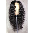 """Loose Curly 13""""x6"""" Lace Frontal Wig Indian Remy Human Hair  [Pre-bleached knots only for natural black,Pre-plucked hairline,Removable elastic band]"""