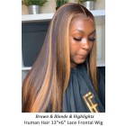 """Highlight Hair Bone Straight Human Hair 13""""x6"""" Lace Frontal Wig [Pre-bleached knots,Pre-plucked hairline,Removable elastic band]"""