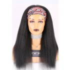 Human Hair Glueless Headband Wig Quick Protective Style Blowout Kinky Straight, Average Size