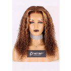 Paige--Long Curly Style Blonde Highlights Brown Hair Lace Frontal Wig,150% Thick Density [Pre-bleached knots,Pre-plucked hairline,Removable elastic band]