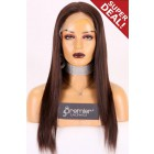 "Large Size 23.5"" Light Yaki Full Lace Wig Brazilian Virgin Hair 16 inches & 18 inches, 120% Normal Density, Light Brown Lace"