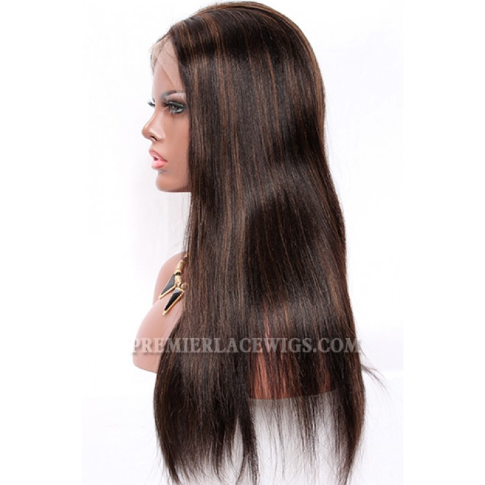 1B/30# Highlights Full Lace Wigs Indian Remy Hair Light Yaki