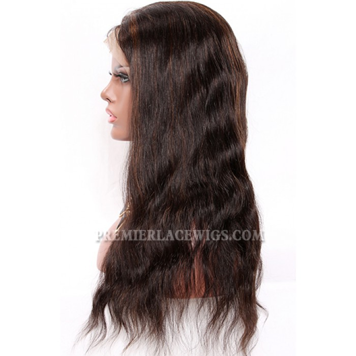 1B/30# Highlights Full Lace Wigs Indian Remy Hair Natural Straight