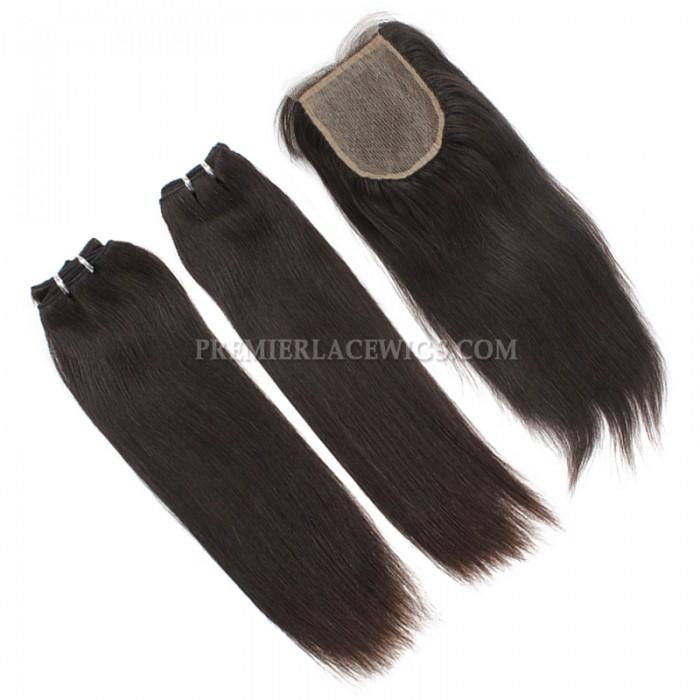 A Silk Base Closure with 2 Bundles Deal Brazilian Virgin Hair Weave Silky Straight