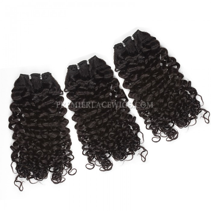 Brazilian Virgin Hair Weave 4ozs thick Hair Candy Curl 3 Bundles with A Lace Closure Deal
