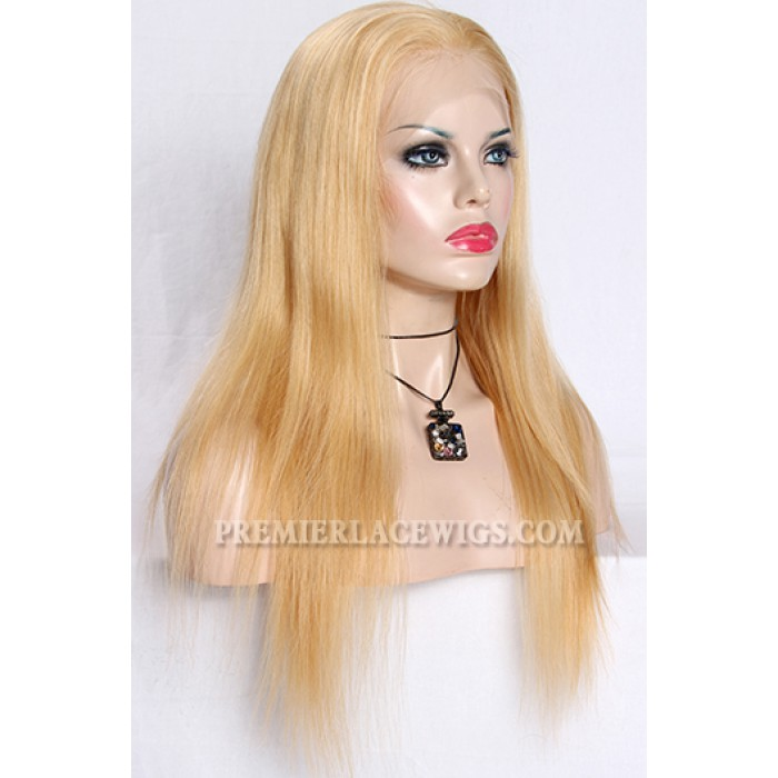 Blending Blonde Color 27/613# Full Lace Wigs Chinese Virgin Hair Natural Straight