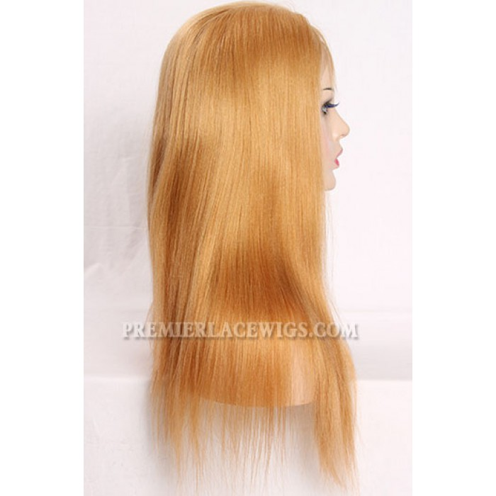 27# Blonde Color Full Lace Wigs Chinese Virgin Hair Light Yaki